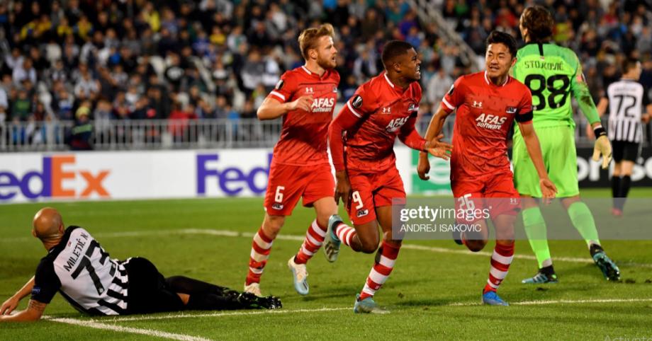 Myron Boadu celebrates Europa League goal against Partizan Belgrad